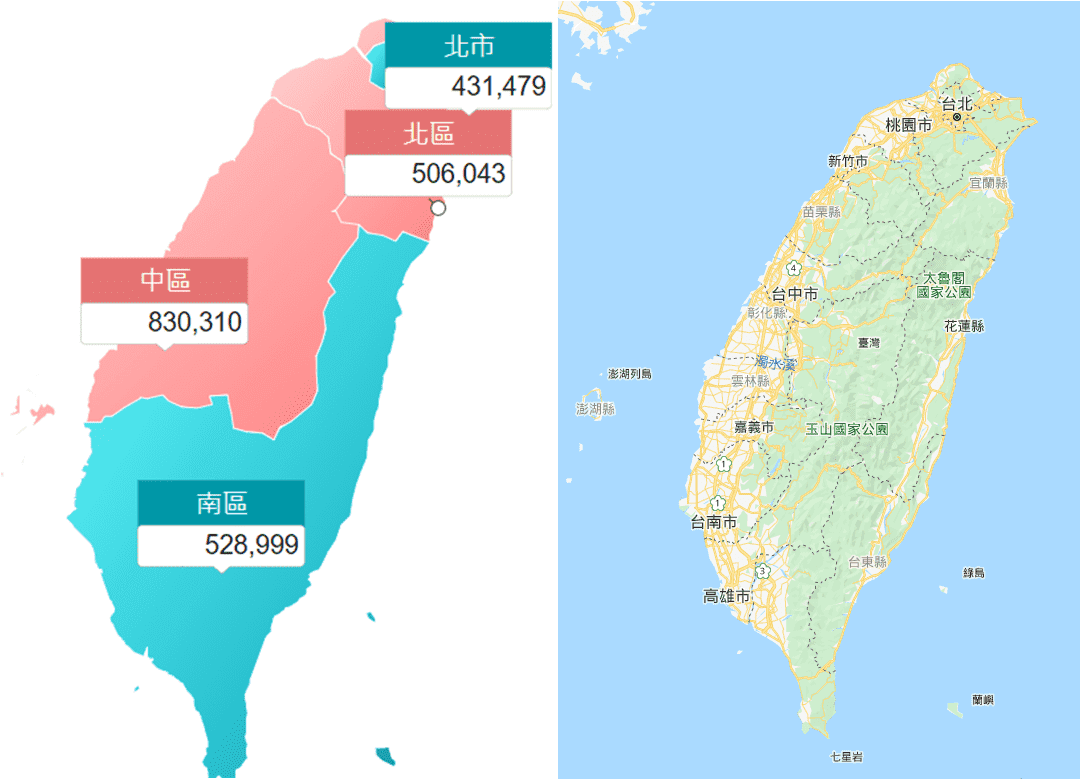 左圖為Map元件,右圖為OpenLayers Map元件
