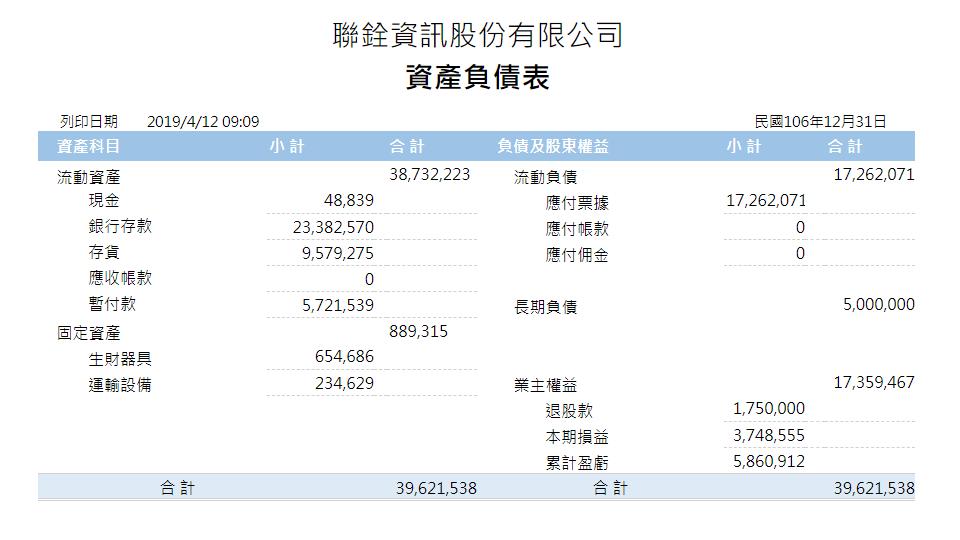 報表範例-資產負債表